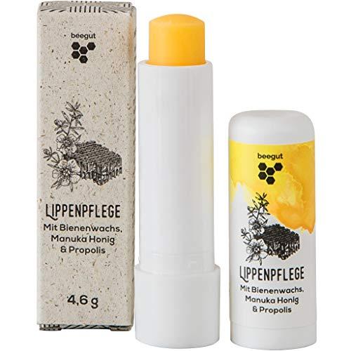 beegut Lippenbalsam mit Bienenwachs, Propolis & Manuka Honig zur natürlichen Lippenpflege, 4,6g