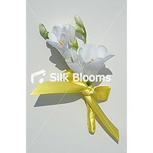 Silk Flower Arrangements Silk Blooms Ltd White Freesia Wedding Buttonhole with Yellow Ribbon