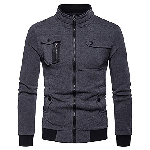 VANVENE Men'S Casual Sweatshirt - Zippered Slim Jacket With Pockets Loose Sweatshirt Dark gray L