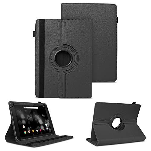 NAUC Tablet Schutzhülle für TrekStor Primetab P10 Hülle Tasche Standfunktion 360° Drehbar Cover Hülle Universal Schutzhülle, Farben:Schwarz
