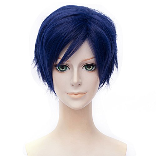 Alacos Anime Cosplay Wig Synthetic Halloween Party Costume Full Hair for Iida Tenya+ Wig Cap (Royal Blue)