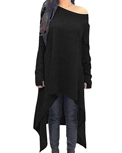 Zanzea Robe Pull en Maille Fine Oversize Femme Hiver Tunique Longue Grande Taille Robe Sweat Asymetrique, Noir, L