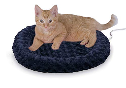 K&H PET PRODUCTS 3606 Thermo-Kitty Fashion Splash Heated Cat Mat, Blue, Small (18' Round)