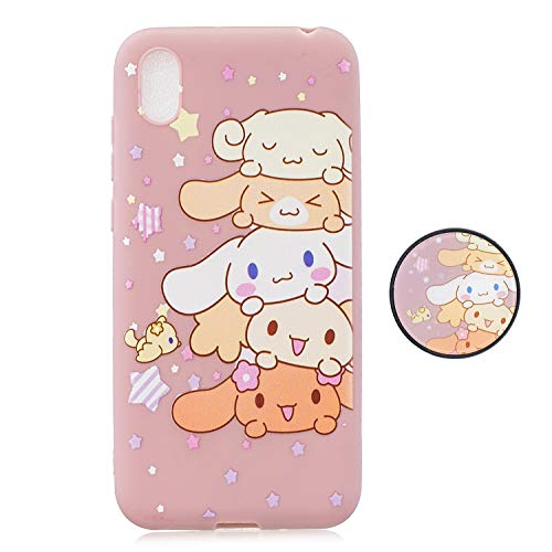 Leton Cute Cartoon Samsung Galaxy A10e Case Silicone Soft Flexible TPU Ultra Thin Slim Shockproof Phone Case Creative Pattern Design with Airbag Ring Cover for Samsung Galaxy A10e Pink Dog