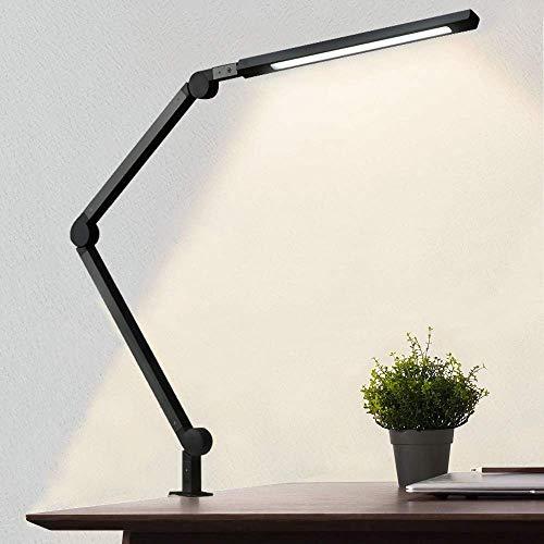 AmazLit Schreibtischlampe LED 10W Schreibtischlampe Augenschutz,Klemmfuß,Tischlampe Schwenkarm Architektenlampe, Stufenloses Dimmen & Farbtemperaturen, Büro Heimgebrauch Berührungssteuerung,Timing