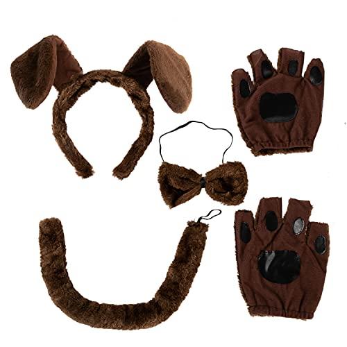Spooktacular Creations 5-teiliges Tier-Kostüm-Zubehör-Set mit Hundeohren-Stirnband, Fliege, Handschuhen und Schwanz, Tierkostüm-Zubehör