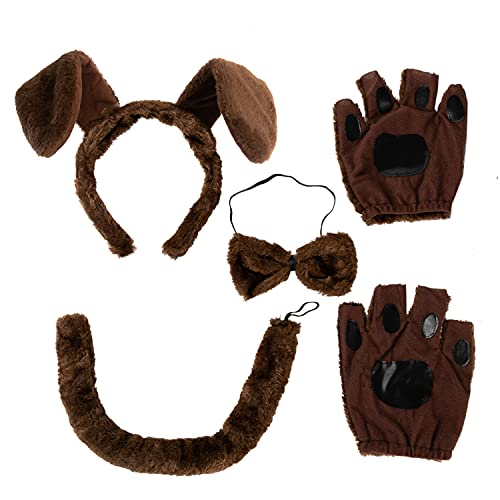 5 Pcs Animal Dog Puppy Costume Accessories Set with Dog Puppy Ears Headband, Bowtie, Gloves and Tail Animal Costume Accessories