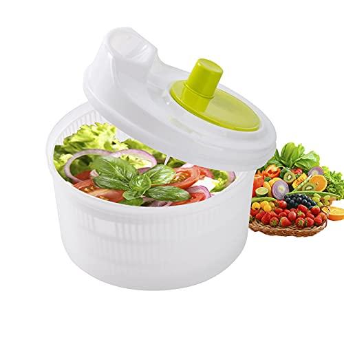 Zerdie - Escurridor de ensalada con cuenco, colador y mango giratorio, lavadora de lechuga con frutas
