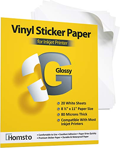 Premium Printable Vinyl Sticker Paper for Inkjet Printer - 20 Waterproof Sticker Paper Glossy - White Decal Paper - Tear and Scratch Resistant, Quick Dry, Letter Size 8.5' х 11'