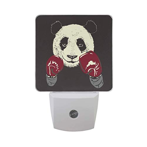 Cool Funny Panda En Guantes De Boxeo Luz Nocturna Enchufe En Paquete De 2 Lámpara Led Dusk