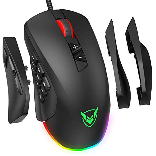 PICTEK Gaming Mouse Wired 24,000 DPI RGB Gaming Mice with 17-Programmable-Buttons, 4 Interchangeable Side Plate Programmable 3/9 Buttons, Palm/Claw Grip Ergonomic for Laptop/PC Gamer