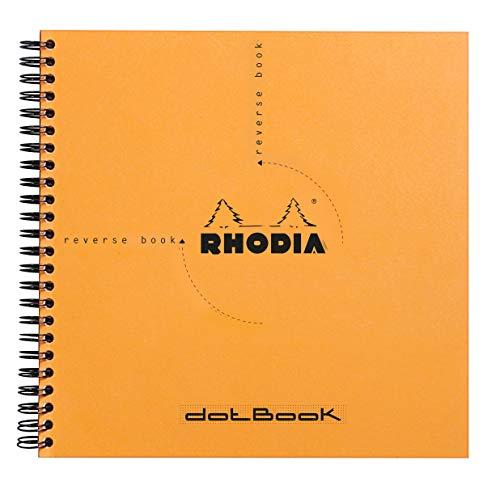 Rhodia 193638C Reverse Book (Dot Grid, quadratisch, ideal für Ihre Notizen, 21 x 21 cm, 80 Blatt) 1 Stück orange