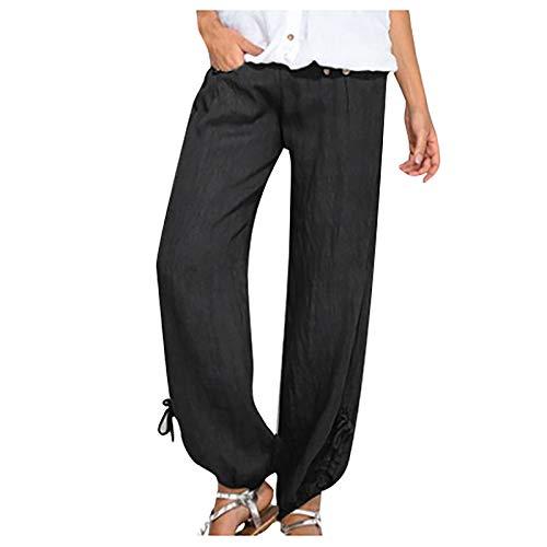 Pantalones Verano Mujer Anchos de Lino Cintura Alta Pantalones Largos Verano Mujer Talla Grande de Casual Ligeros Pantalon Lino Mujer Rectos Cropped de Deporte Jogging Pantalones con Bolsillos