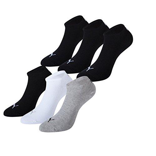 PUMA Unisex Sneaker Sportowe skarpety stopki 251025 w opakowaniu 6 szt wielokolorowa 3 szt. czarny/biały/szary 43/46- 6er Pack