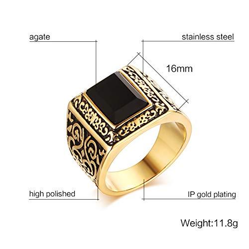 ERDING Fashion Gift/Vintage Goudkleurige Mannen Engagement Ringen RVS Zwarte Steen Gepersonaliseerde Trouwringen voor Mannen Sieraden