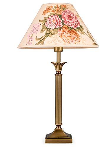 Helios Leuchten 403776/4 Vintage Lampe Leuchte | klassische Jugendstil Tischleuchte Tischlampe | Retro Schreibtischlampe echt Messing antik Altmessing | Lampenschirm geblümt | 1xE14