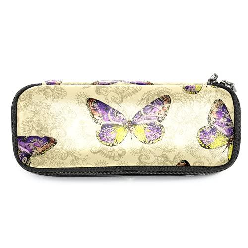 Estuche de lápices de piel con mariposas de colores con doble cremallera bolsa de papelería bolsas de almacenamiento para niños y niñas
