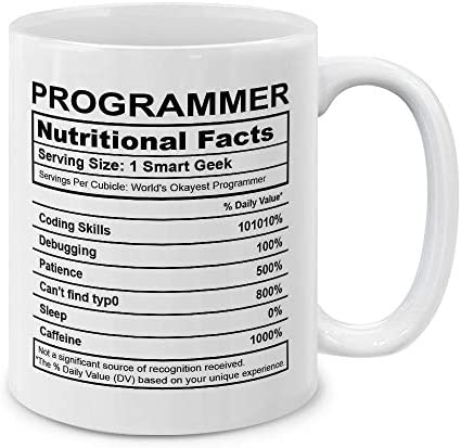 MUGBREW Programmer Nutritional Facts Funny Coffee Mug Tea Cup 11 Oz product image