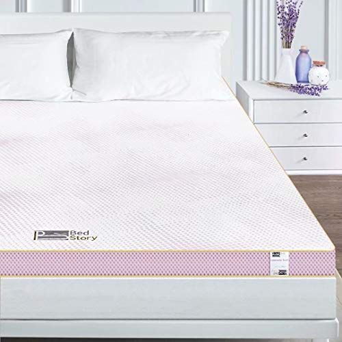 BedStory Mattress Topper Twin, 3 Inch Memory Foam Mattress Topper with Dual Sides(Soft and Firm Sides), Lavender Bed Topper Gel Infused with Removeable Breathable Cover