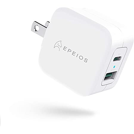 Epeios PD充電器 20W Type-C 急速充電器 2ポート【 USB-C&USB-A/PSE認証済/PD 3.0/QC 3.0 】超小型 充電器 折畳式 携帯便利 iPhone 12 / 12 Pro/iPhone 11 / iPhone X/iPad Air(第4世代) / Xperia/GALAXYその他 各種機器対応 (ホワイト) PA222A