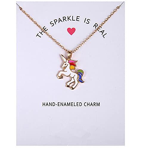 MGZQ Collar con colgante de unicornio esmaltado para niños, collar de animales de caballo con tarjeta para regalo de joyería de niña adolescente