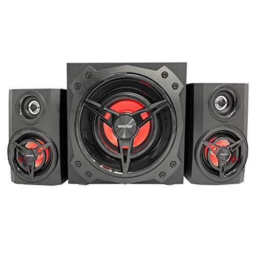 Woxter Big Bass 500R V1 - Altavoces 2.1, 150W BLUETOOTH, LEDS, Subwoofer y Satélites de MADERA, SD, AUX y USB. Juego de Altavoces Gaming RGB, Speakers