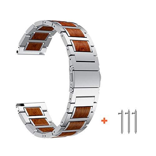 Yeejok Watch Band Compatible for Fossil Men's Gen 5 Carlyle, 22mm Replacement Quick Released Natural Red Sandalwood & Silver Metal Watch Strap for Gen 4 Explorist HR/Women's Gen 5 Julianna Smart Watch