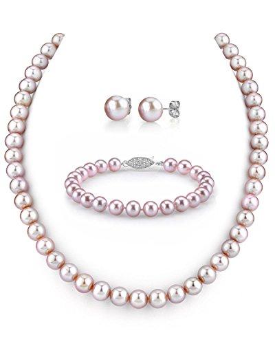 8–9mm, colore: rosa perla coltivata d' acqua dolce, composta da collana, bracciale e orecchini, lunghezza 17'Principessa, qualità AAA