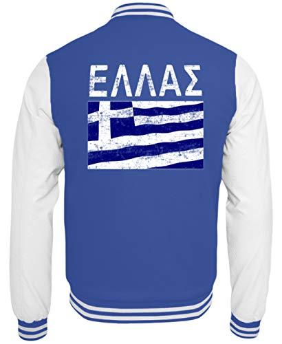 Griechenland - Fahne, Flagge, Griechisch, Grieche, Griechin, Hellas, Hellenen, Athen - College Sweatjacke