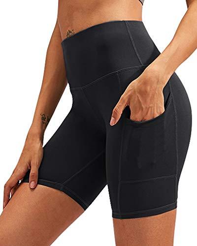 Kurze Sporthose Damen Yoga Biker Shorts Leggins Sport Leggings Sommer Hohe Taille Kurze Radlerhose Yogahose Gym Bike Laufhose Legging mit Tasche