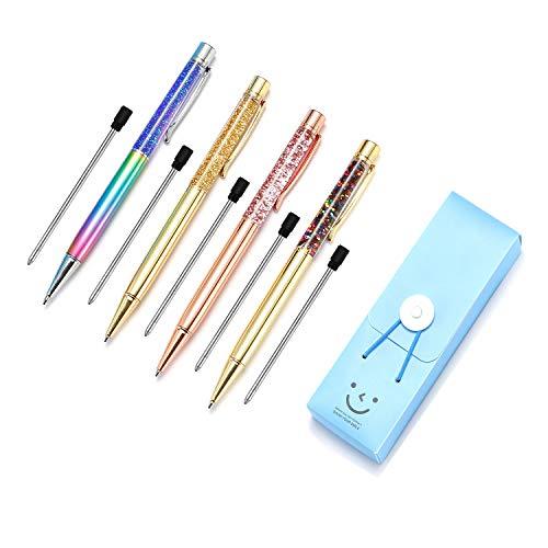 Pen Bling sets Pen Rhinestones Crystal Metal Ballpoint Pens Fine Black Ink Office Supplies(package of 4) Photo #3
