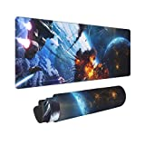 Gaming Mouse Pad,Space Star Wars XXL Large Big Computer Keyboard Mouse Mat Desk Pad with Non-Slip Base and Stitched Edge for Home Office Gaming Work, 31.5x11.8x0.12inch