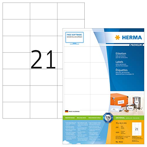 HERMA 4616 Universal Etiketten DIN A4 (70 x 42,3 mm, 200 Blatt, Papier, matt) selbstklebend, bedruckbar, permanent haftende Adressaufkleber, 4.200 Klebeetiketten, weiß