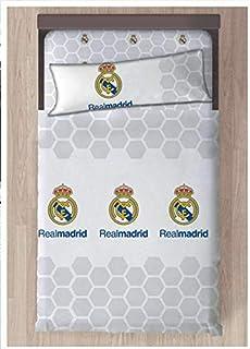Real Madrid Referencia NI Juegos de sábanas y Fundas de Almohada Alfileres para faldón de Cama Textiles del hogar Unisex Adulto, Blanco, 090 cm