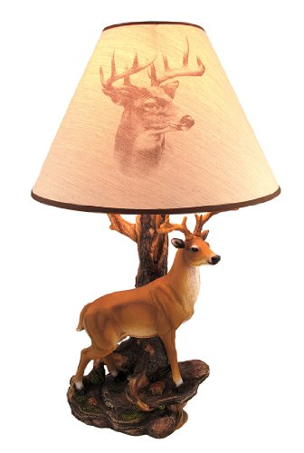 `Champion` 12 Point Buck Table Lamp with Deer Printed Shade