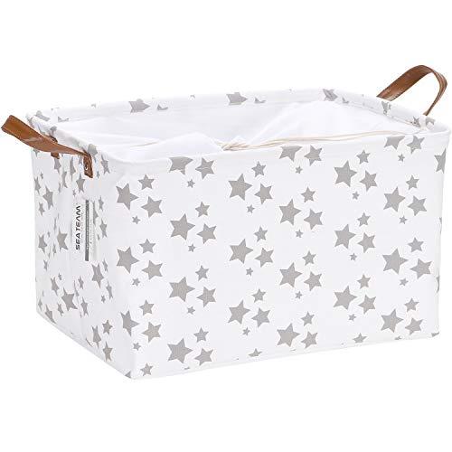 Sea Team - Cesta de Almacenamiento de Tela con diseño geométrico marroquí con Cubierta de cordón y Asas de Piel sintética, 16,5 x 11,8 Pulgadas, Interior Impermeable, color blanco con estrellas grises