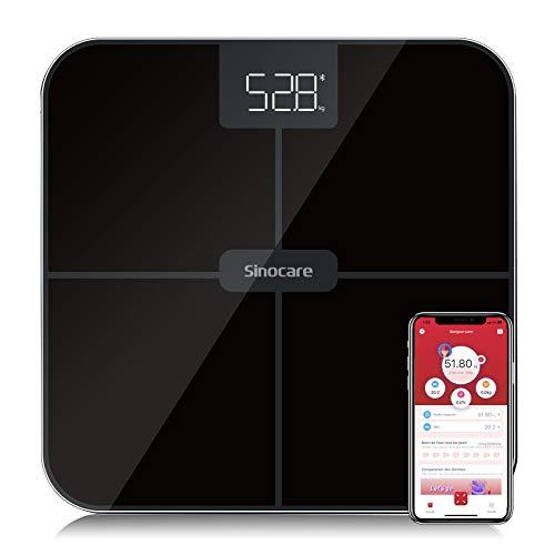 Sinocare - Báscula personal electrónica, pese personas, báscula digital con aplicación, tecnología Step-One, ultraplana, 180 kg, pantalla LED (negro)