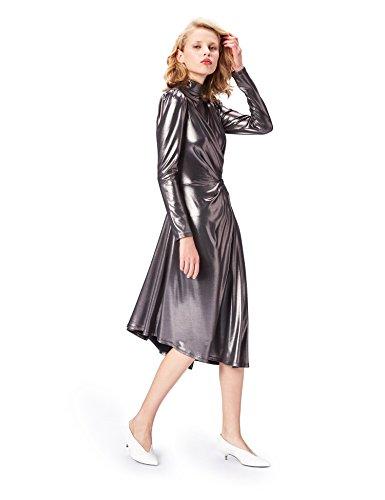 Marchio Amazon - find. Vestito a Portafoglio Donna, Argento (Gunmetal), 40, Label: XS