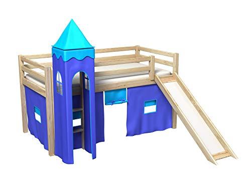 Bociek Meble Cama con tobogan,Torre,Cortinas,colchónCama de Juego,Cama para niños,de Alta,Muchos Colores (PINO-2041)
