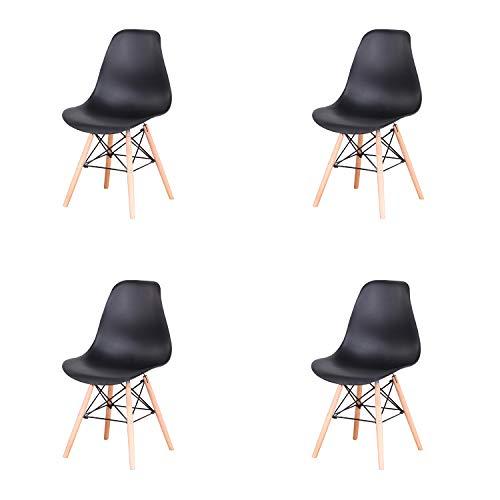 GrandCA Conjunto de 4 sillas, sillas de Comedor Silla de Oficina Silla de salón, Silla diseño nórdico (Negro)