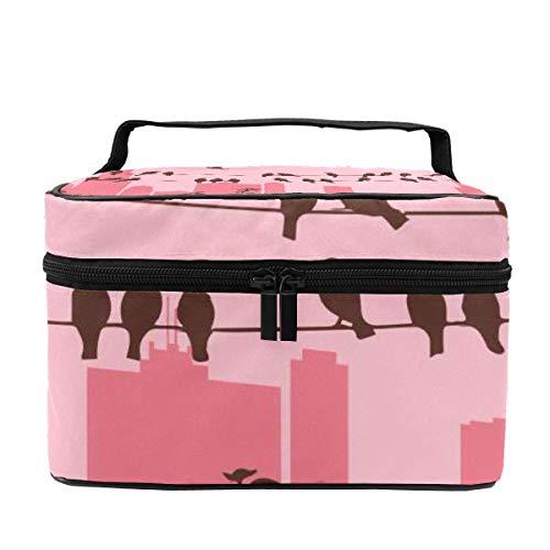 Make-up-Tasche für Damen, Kosmetikkoffer, Organizer, multifunktional, tragbare Aufbewahrungstasche für Pinsel, Toilettenartikel, Schmuck, Vogel auf einem Draht