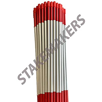 """Driveway Markers, Red, 12 Pack, 4' x 5/16"""", Snow Stakes, Plow Stakes, Reflective Tape, Bundle of 12 Driveway Markers"""