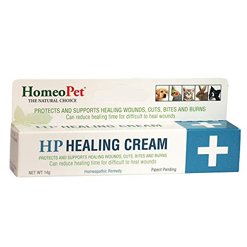 HomeoPet HP HEALING CREAM - 100% Natural Pet Medicine. Topical ointment for wounds, cuts, bites, burns, skin irritations, surface tissue damage. Animals of all ages. Patented formula