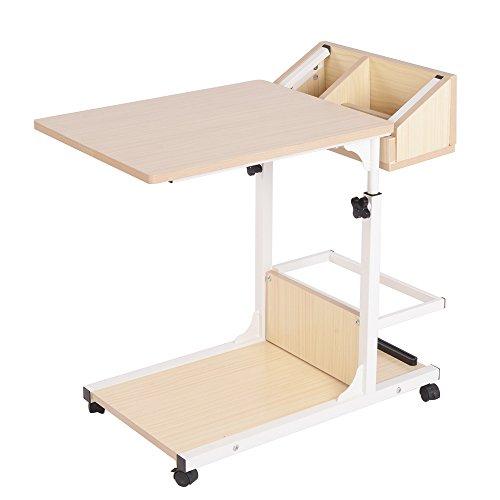 soges Beistelltisch Pflegetisch Hochverstellbarer Computertisch Laptoptisch PC Notebook Tisch Laptopständer Notebookständer mit Rollen und Stauraum für kleinen Artikeln,Weiß Ahorn