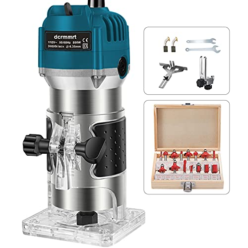 Wood Router with 15pcs 1/4' Collets Router Bits 800w 110v Laminate Milling Engraving Hand Machine Joiner Tool Electric Trimmer for Slotting Trimming Carving