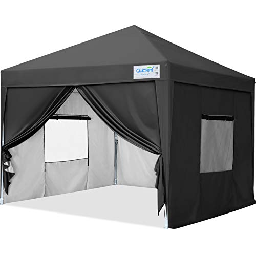 Quictent Privacy 8x8 Ez Pop up Canopy Tent Enclosed Instant Canopy Shelter Protable with Sidewalls and Mesh Windows Waterproof (Black)