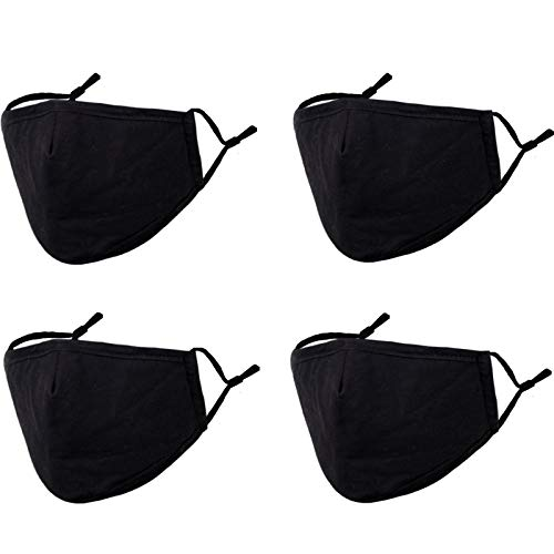 Reusable Face Mask with Adjustable Ear Loops for Protection, Washable Breathable Black Cloth Layer Mask Cover, Soft Cotton Fabric Cute Fashion Designer Madks for Women Men Adult Gift