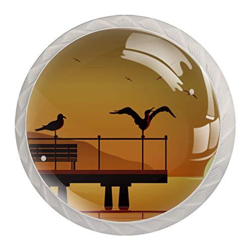 Perillas de gabinete de cocina Perillas decorativas redondas Gabinete Cajones de armario Tirador de tocador 4PCS Albatros en la playa Pájaro Silueta de puesta de sol