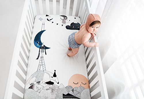 Rookie Humans 100% Cotton Sateen Fitted Crib Sheet: The Moon's Birthday. Modern Nursery, Use as a Photo Background for Your Baby Pictures. Standard Crib Size (52 x 28 inches) (Standard Cotton Sateen)