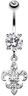 Royal Fleur De Lis Multi-Sprinkle Dot 316L Surgical Steel Belly Button Ring